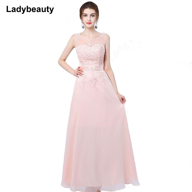 bdc9f2ded896 2017 Elegant Avondjurk Grace Lång A-linje Vestido Chiffon Ärmlös Rosa Lila Prom  Klänning Kvinnor Formell Kv..
