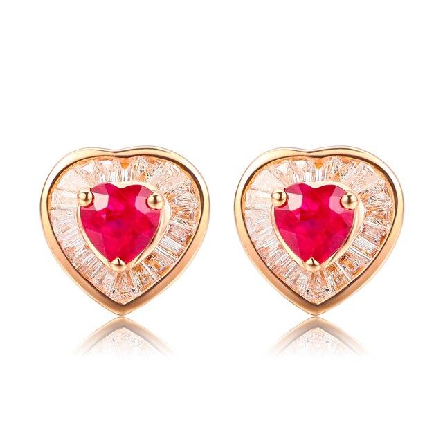 0 5 CT Ruby Diamond Gemstone Earrings For Women Heart Red Wedding Jewelry 18K Gold Earrings.jpg 640x640 - 0.5 CT Ruby Diamond  Gemstone Earrings For Women Heart Red Wedding Jewelry 18K Gold Earrings Women's Day Gift red ruby earrings