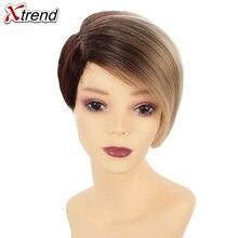 Xtrend, 6 дюймов, 110 г, синтетические короткие прямые волосы, парики для женщин, Омбре, коричневый, черный, парик, короткий Боб, парики, высокотемпературное волокно