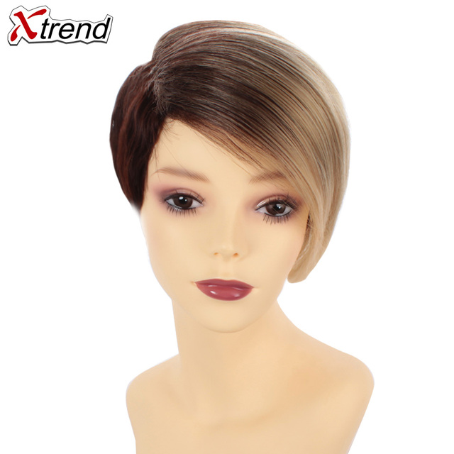 Xtrend 6inch 110g Synthetic Short Straight Hair Wigs For Women Ombre Brown Black Wig Short Bob Wigs High Temperature Fiber