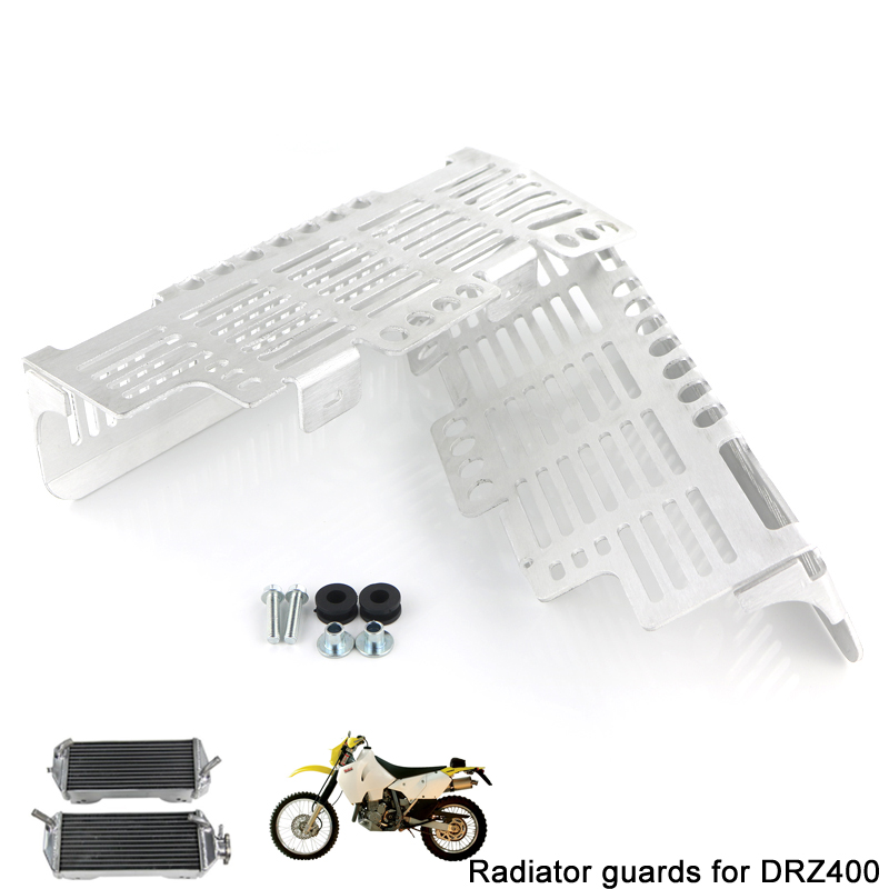 Motorcycle Radiator Protector Guard Oil Cooler Grill Cover For Suzuki DRZ400 DRZ400E DR-Z 400 400S 2000 UP DRZ400SM Silver BlackMotorcycle Radiator Protector Guard Oil Cooler Grill Cover For Suzuki DRZ400 DRZ400E DR-Z 400 400S 2000 UP DRZ400SM Silver Black