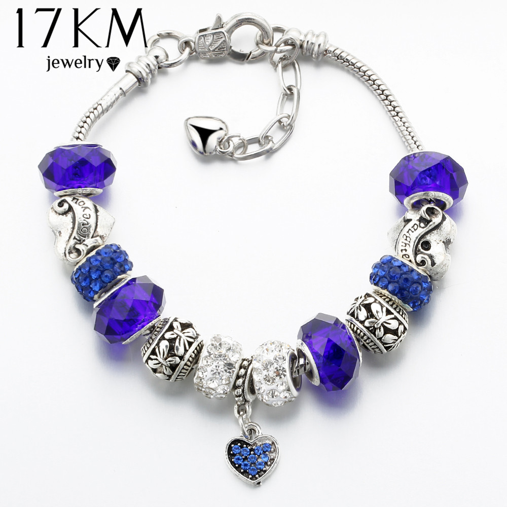 17KM 2017 Vintage Silver Color Charm Glass Bracelets For Women Crystal Heart Beads Bracelets & Bangles Pulseras DIY Jewelry