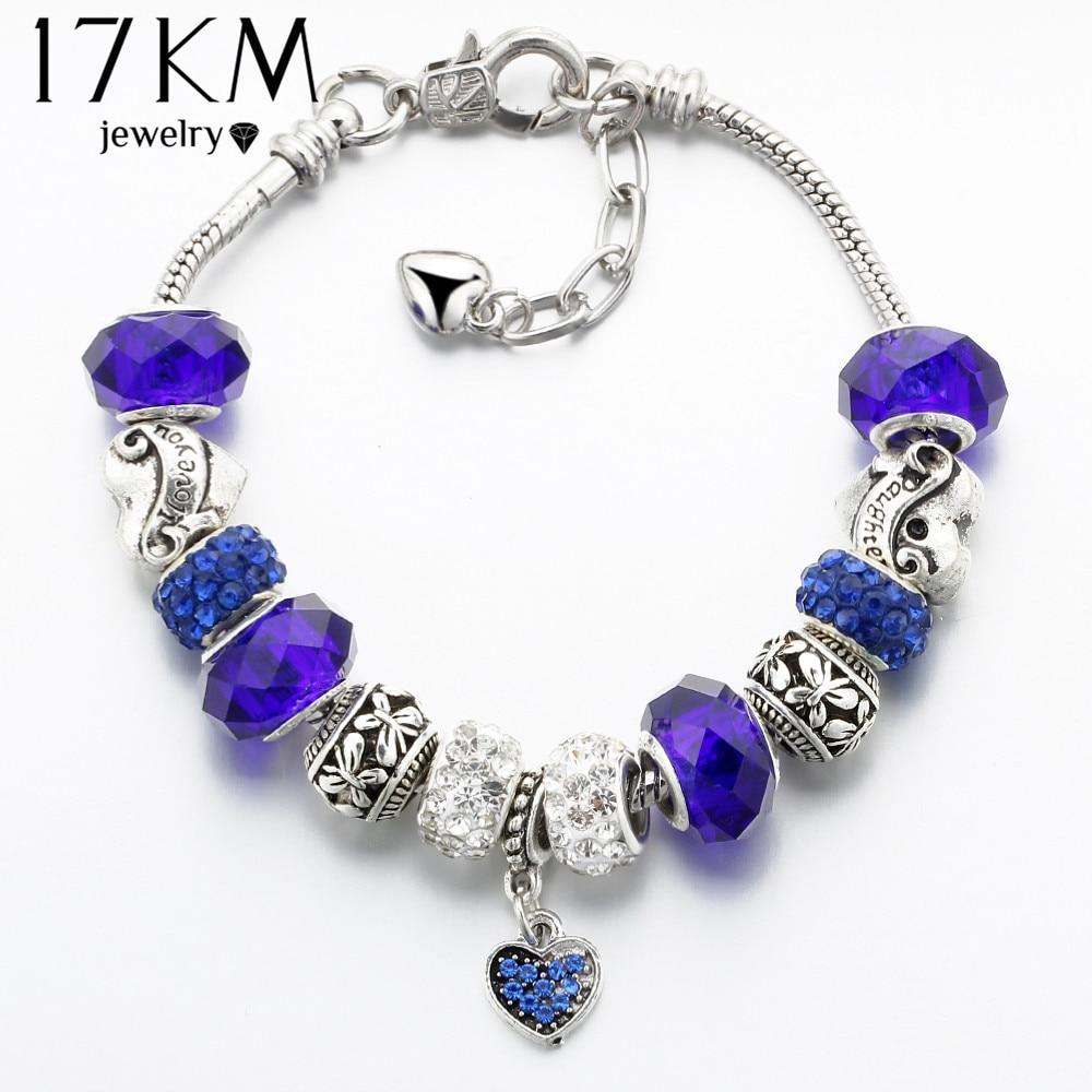 17KM Vintage Silver Färg Charm Glas Armband För Kvinnor 2017 Nya Crystal Heart Pärlor Armband & Bangles Pulserer DIY Smycken
