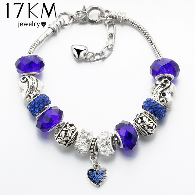 17KM Vintage Silver Color Charm Glass Bracelets For Women 2017 New Crystal Heart