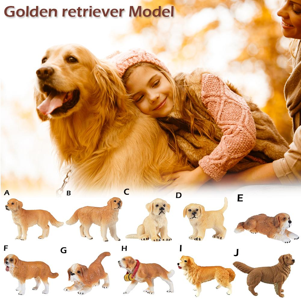 1PC Mini Golden Retriever Model Sculpture Toy Dog Gifts Cute Lifelike Animal Model Figure Toy Figurine Home Decor