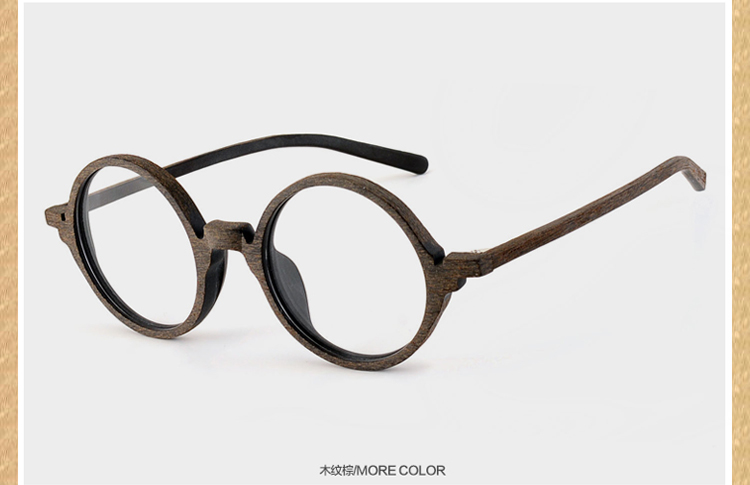 f66e31f2400 vintage small round glasses Optical wooden eyeglasses frame eyewear with  heavy black frames prescription spectacles myopia -in Eyewear Frames from  Apparel ...