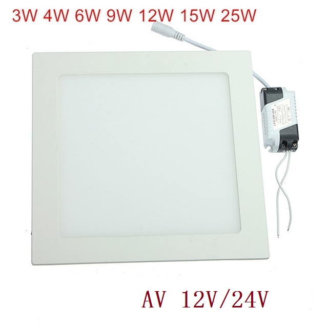 LED Ceiling Panel Light 3W 4W 6W 9W 12W 15W 25W High brightness LED Downlight with adapter 12V/24V indoor Light 1pcs Free Shinp