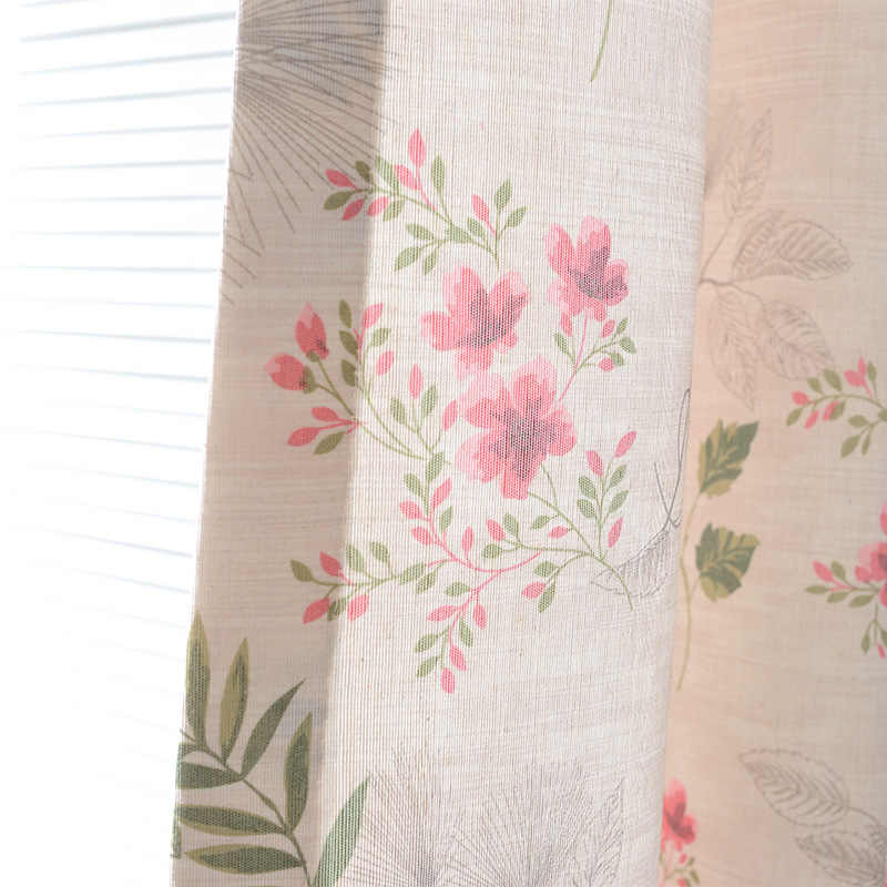 Pink Floral Curtains for Living Room Girl Room Bedroom Princess Printed Sheer Curtains for Kids Bedroom HC082-30