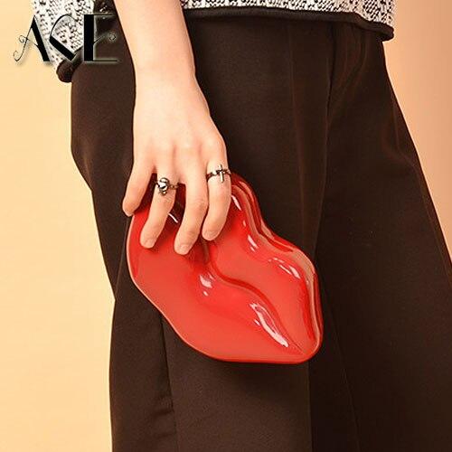 de la personalidad sexy labios rojos de glamour moda diseño bolsos de tarde par