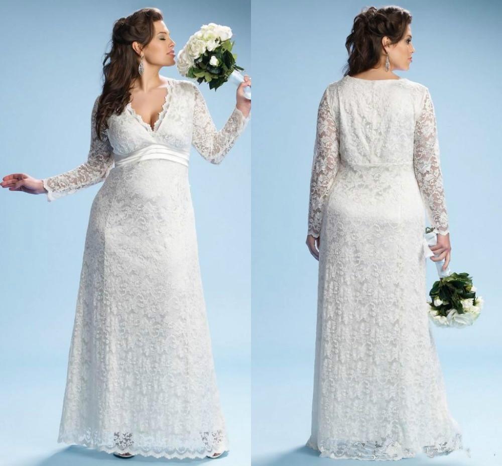 Plus Size Empire Waist Wedding Dress: 2017 Ivory Maternity Wedding Dresses With Long Sleeves