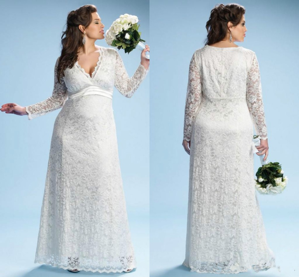 Online get cheap lace long sleeve maternity dress aliexpress 2017 ivory maternity wedding dresses with long sleeves empire waist floor length plus size bridal gowns ombrellifo Choice Image