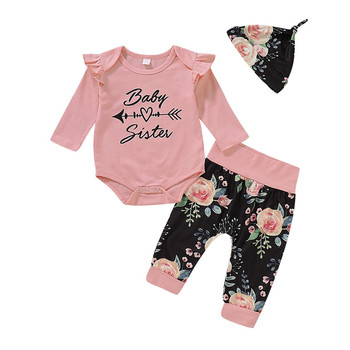 2019 Newborn Baby Girls Sets Autumn Clothes Ruffles Long Sleeve Romper+Floral Pants+Hat Girl 3Pcs Baby Girl Cotton Outfits 0-24M 1