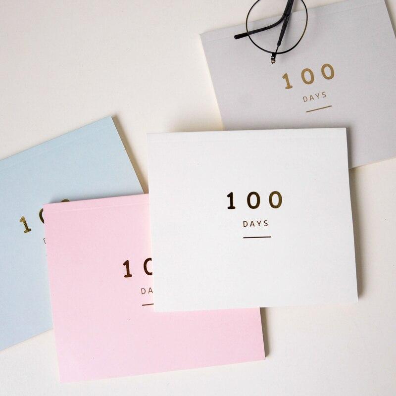 Calendario de cuenta regresiva de 100 días planificador diario para el horario de aprendizaje de 100 días planificador periódico Agenda escolar artículos de papelería