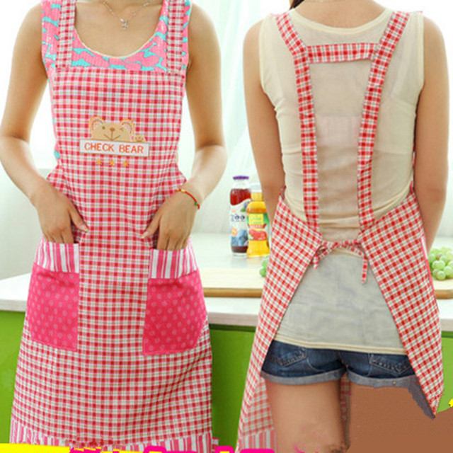 Cute Womenu0027s Waterproof Housewife Waist Aprons With Pocket Home Kitchen  Textiles Halter Neck Sleeveless Printed Apron