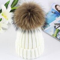 Unisex Kids Ages 2 7 Warm Knit Beanie Winter Hat Children S Real Fox Fur Pom