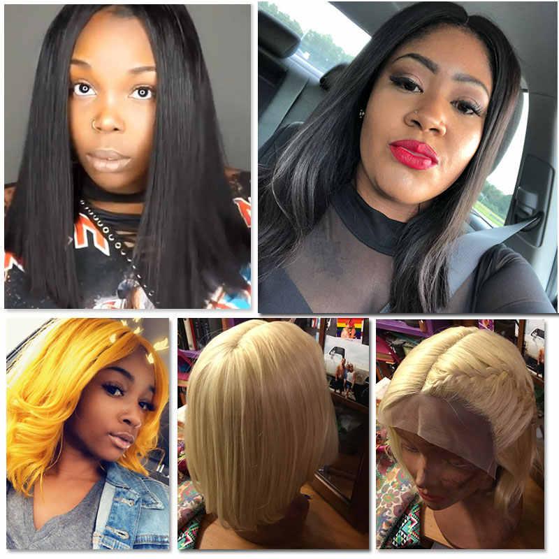 Pelucas de pelo Remy brasileño pelucas de encaje de densidad 130% # 1B #613 # 1B/99J pelucas de cabello humano corto Ali Queen Peluca de encaje