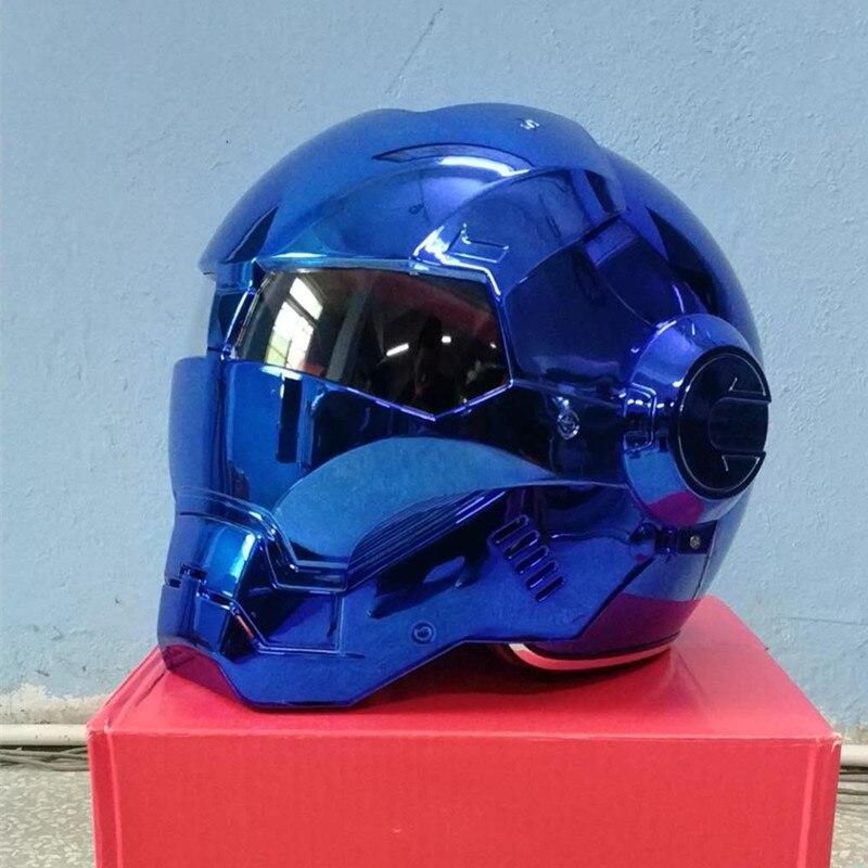 Masei bike scooter moto galvanisieren blau iron man helm motorrad helm hälfte helm jethelm casque motocross