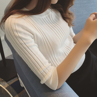 In The Spring Of 2017 New Women S Half Sleeve Knit Turtleneck Female Sleeve Head Tight