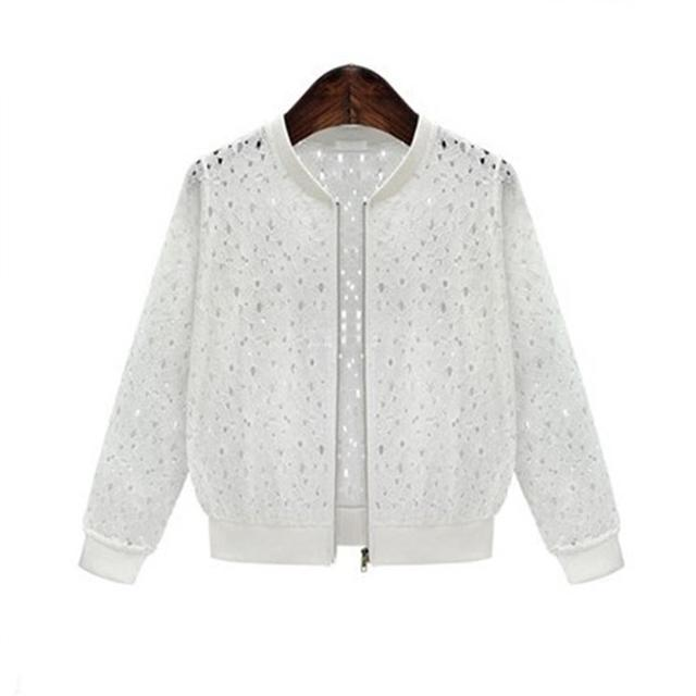 Women's 2018 Summer Long Sleeves Jacket Full Lace Short Sunscreen Thin Coat Hollow Out Female Jackets 2