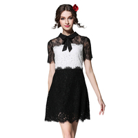 Style Black White Cotton Lace Dress Women Elegant Summer Short Sleeve Contrast Bow Spliced Lace Party