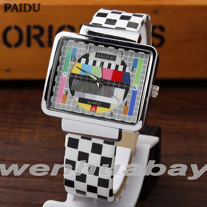 Paidu Multicolor Quartz Black and white square Leather Band Wrist Watch Mens Boy Turntable Dial Digital Gift Wristwatches silver band quartz wrist watch turntable black dial clock hours mens womens gifts free shipping