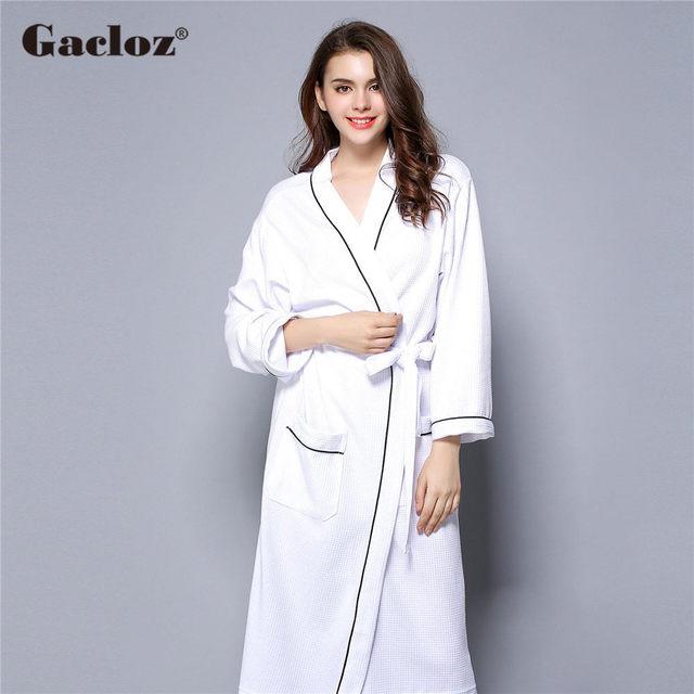 Gacloz Lovers Waffle Cotton Bathrobes Plus Size Kimono Nightgown Lovers Robes Women Spa Bath Robe Nuisette 1