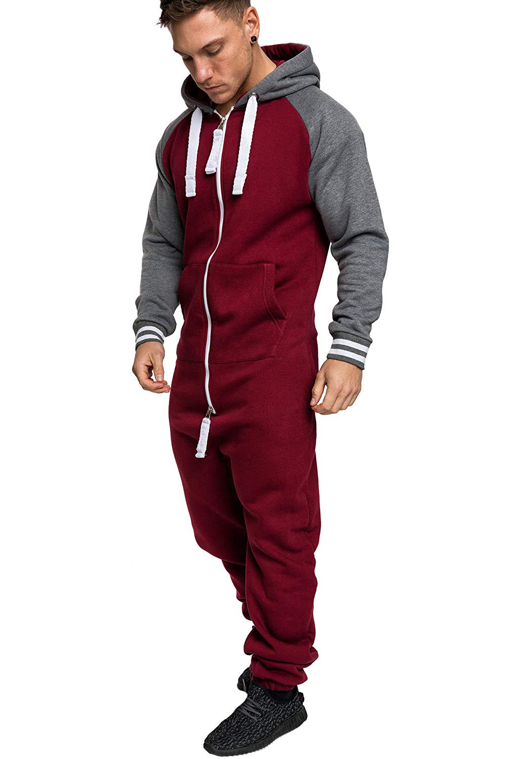 Casual Autumn Hooded Tracksuit Jumpsuit Long Pants Romper For Male Mens Fleece warm Overalls Sweatshirts Male Streetwear X9126 17
