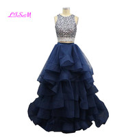 O Neck Crystals Two Pieces Quinceanera Dresses Organza Princess Prom Dress for Girls 2019 Real Photos Ball Gown Vestidos De 15