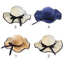 bd1b6f728dd Women Summer Straw Weave Floppy Beach Sun Hat Long Ribbon Bowknot Decor  Wide Wavy Brim Bucket