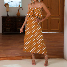 2019 Hot Summer Beach Sexy Womens Polka Dot Strappy Ruffle Dress Ladies Casual Boho Strapless Sleeveless Holiday Sundress