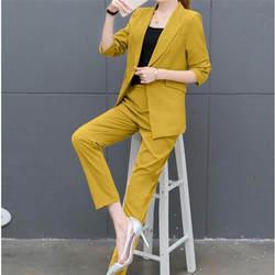 Индивидуальные Новые Модные трендовые женские сплошной цвет Тонкий костюм из двух Костюм из нескольких предметов (куртка + Штаны) женские