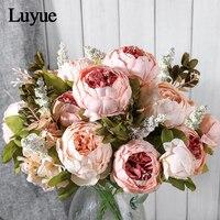 Luyue 人工花結婚式ヴィンテージヨーロッパ牡丹花輪シルク造花ヘッド祭の装飾 13 枝