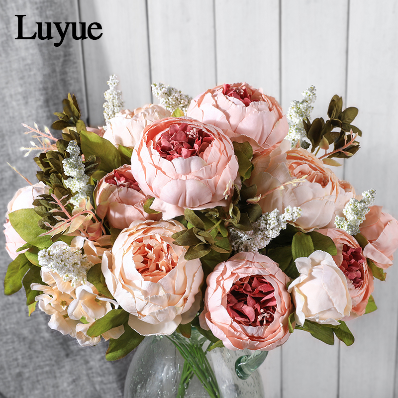 Luyue Artificial Flowers Wedding Vintage European Peony Wreath Silk Fake Flowers Heads Home Festival Decoration 13 Branches