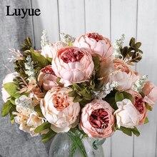 Flores artificiales Luyue, corona de peonía Vintage europea para bodas, flores falsas de seda, cabezas, decoración para fiesta en casa, 13 ramas