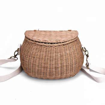 6 color Children\'s adults rattan wintage beach straw bag women shoulder messenger bamboo basket bag