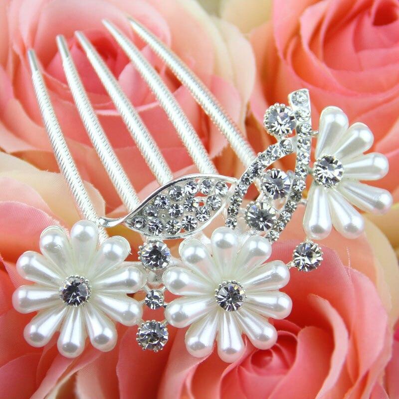 Flower Hair Pins For Wedding: White Flower Hair Combs Hair Pins Wedding Hair Accessories
