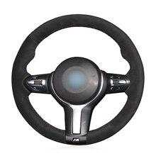 лучшая цена OLPAY Black suede Car Steering Wheel Cover for BMW F87 M2 F80 M3 F82 M4 M5 F12 F13 M6 F85 X5 M F86 X6 M F33 F30 M Sport