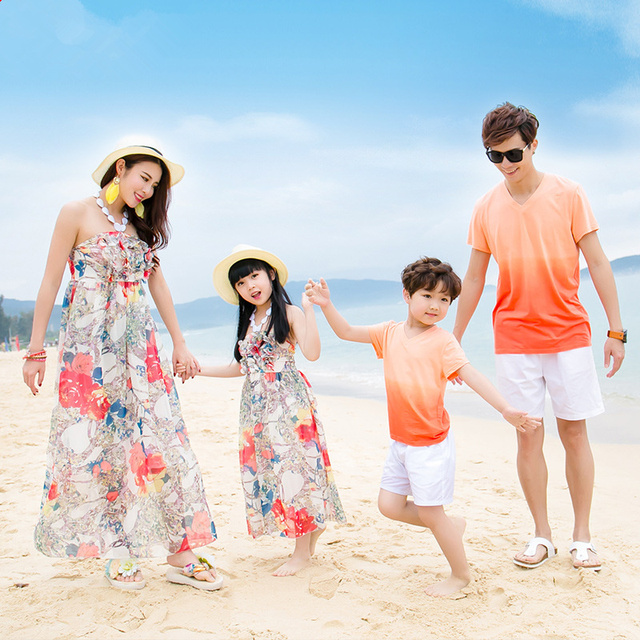 bae49e00d1 Hot Bohemia style family matching outfits orange floral matching mother and  daughter clothes dresses dad mom baby t-shirt F91