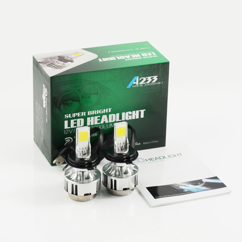 Free shipping 2 PCS/Lot COB All In One Car LED Auto Headlight H4 High Low H/L Hi/Lo 66W 6000lm Adjustable Car LED Bulb 6000K free shipping all in one car led headlight conversion kit 66w 6000lm h13 high low beam bulb super bright car styling led bulb