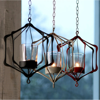 Modern Wrought Iron Hanging Pendant Lamp Candle Holder Home Atmosphere Decor