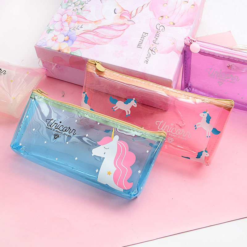 1PCS Cartoon Unicorn Pencil Case Thick PVC Transparent Pencil Bag Box For Kids Stationery Storage Case Waterproof Pen Bag Girls