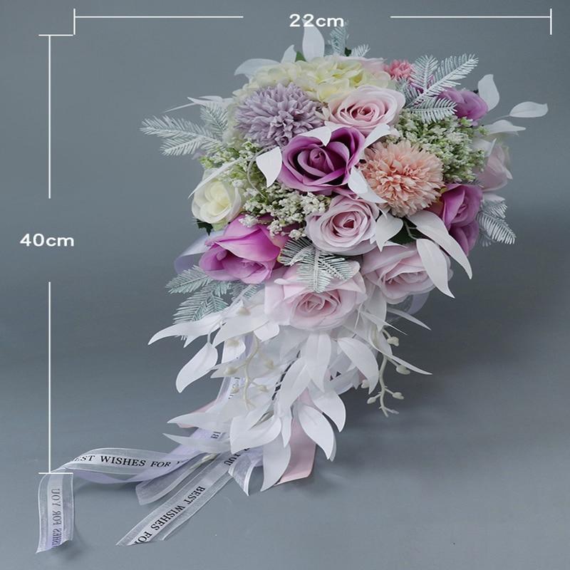 Mariée coréenne tenant fleur Makaron couleur simulation fausse fleur mariage eau gouttelette modèle livraison gratuite