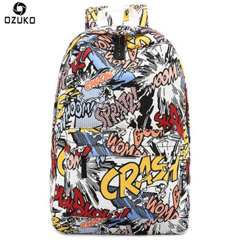 OZUKO 2018 Cartoon Men Backpack School Bags For Teenagers Printing Designer Backpack Women Fashion Travel Student Graffiti Bags