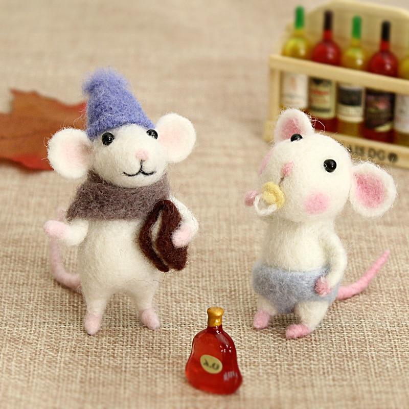 2019 Girls Children Kids DIY Gift Mouse Wool Needle Felt Toy Doll Wool Felting Poked Needle Kit Package Non-Finished