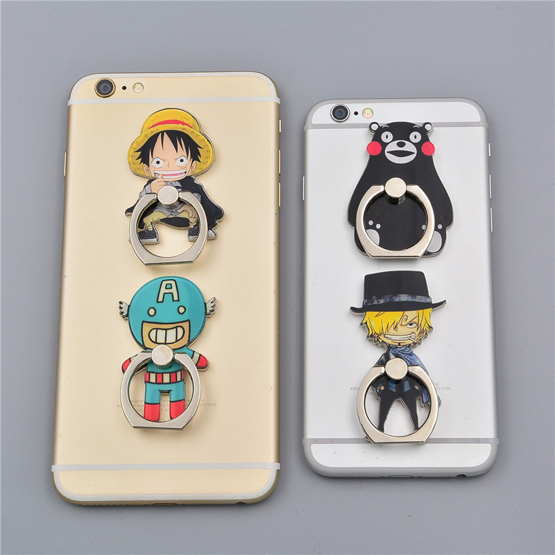 Finger Ring Koteta Anime One Piece Luffy Straw Hat Sanji 360 Degree Metal  Mobile Phone Smartphone Stand Holder for iphone ipad maoxin cute cat head finger grip metal ring kickstand for smartphones blue cats