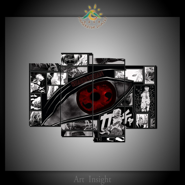 4 Pieces Anime Naruto Blood wheel eye Wall Art Canvas Painting Art Print Picture Frame Modern & 4 Pieces Anime Naruto Blood wheel eye Wall Art Canvas Painting Art ...