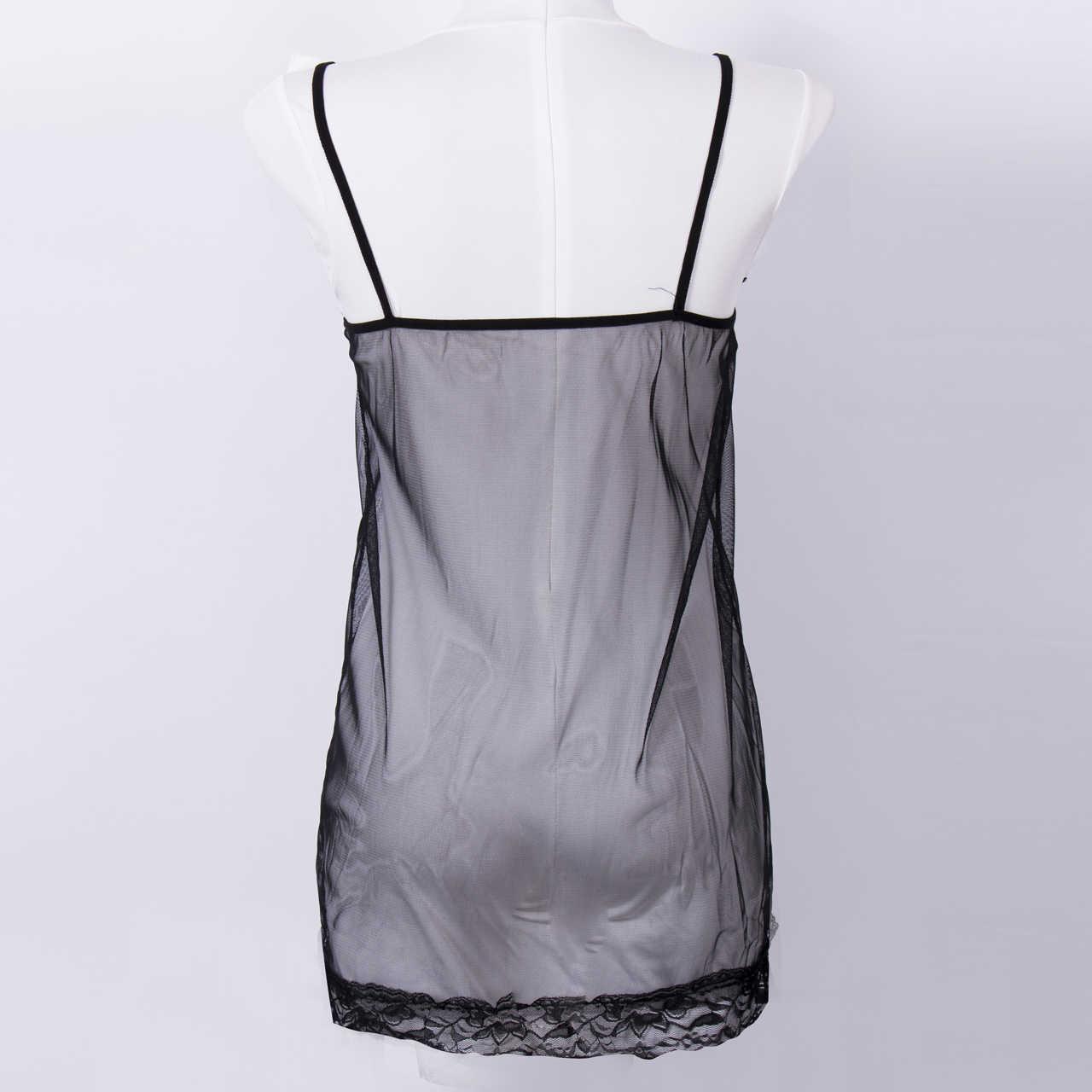 Kobiety seksowna bielizna Babydoll bielizna czarna koronkowa sukienka bielizna nocna Babydoll bielizna nocna czarnym paskiem koszula nocna