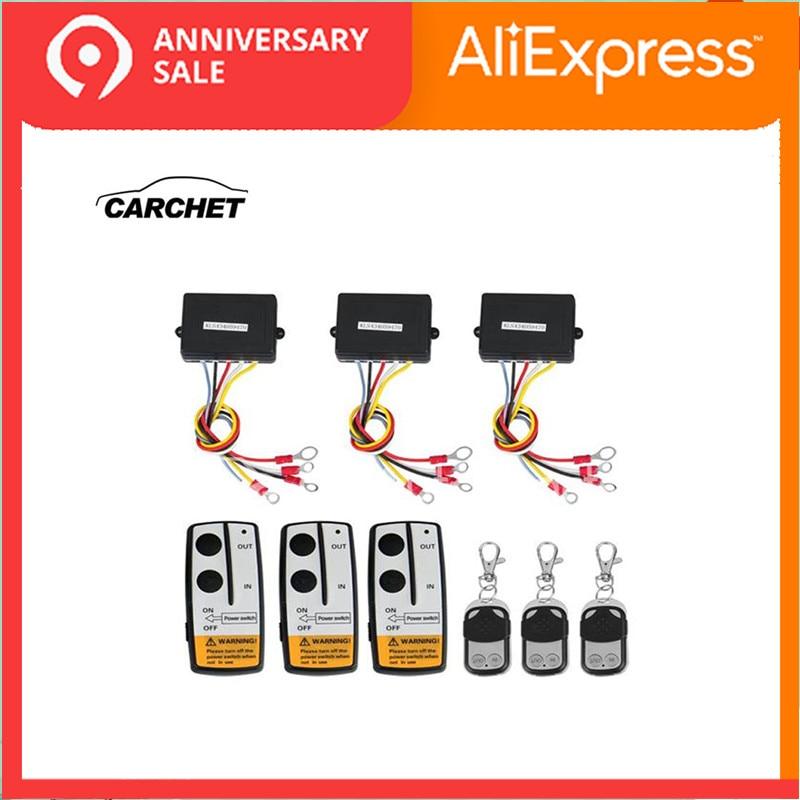 CARCHET Universal 3 pcs 12 V 50FT Winch Wireless Kit Controle Remoto Para Truck Jeep ATV SUV Para A Auto- recuperação Guincho FRETE GRÁTIS