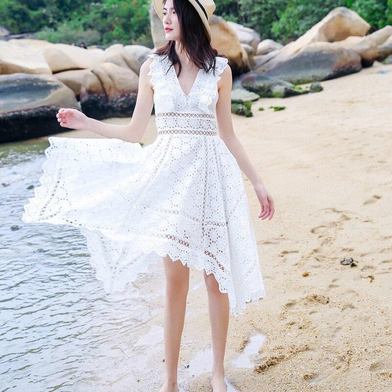 Élégant Femme Sexy D'été Dames Manches Asymétrique 2018 Évider Robes En Blanc V Beach Vêtements White Party Sans Robe Col xgY7x0qwF