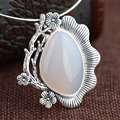 GZ 925 Silver Flower Pendant 100% Pure S925 Solid Thai Silver Natual Chalcedony Pendants for Women Jewelry Making